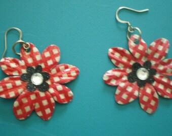 Summery Checked Flower Earrings