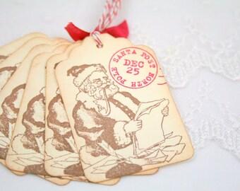 Santa Tags, Christmas Tags, Christmas Gift Tags, North Pole Tags,  Christmas Favor Tags Set of 6