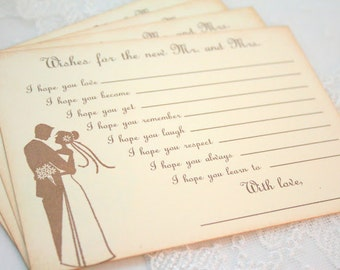Wedding Game Cards Wish Cards Fill in the Blank Wishes Set of 10 for Mr. and Mrs. Guest Book Alternative