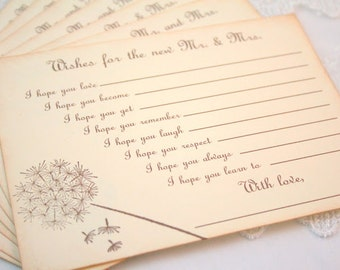 Wedding Wish Cards Fill in the Blank Wishes for Mr. and Mrs. Guest Book Alternative Dandelion