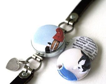 Boston Terrier Dog Bracelet - Magnetic Bracelet, Interchangeable - Black Leather Bracelet - Recycled Steel by Polarity - Michele Maule