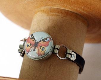 Butterfly Leather Bracelet - Butterfly Jewelry - Magnetic Bracelet - Interchangeable Jewelry -  Recycled Steel Jewelry by Polarity