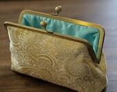 Gold Metallic Paisley Clutch