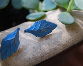 Vintage Light Blue and Gold Tiny Leaf Earrings (Free SHipping)