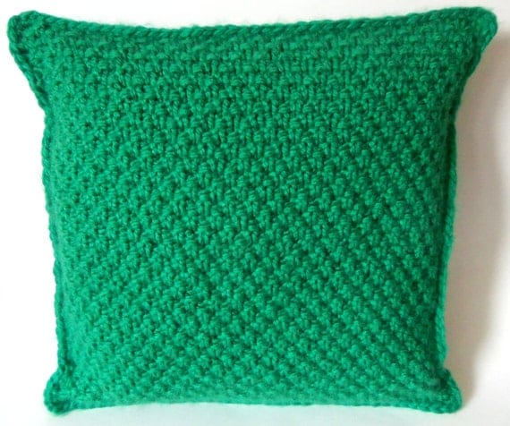 ... woven look decorative cushion in emerald green with crochet trim