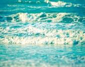 Ocean waves surfing deep blue sea high tide aquamarine blue surf turquoise blue decor Atlantic Ocean Outer Banks minty fresh