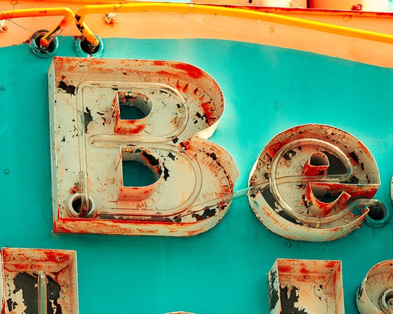 Vintage neon sign photo, orange, turquoise, rust, peeling paint, motel sign, Jersey Shore, funky decor, mid century, doo wop