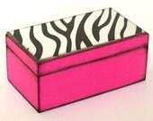 Zebra Print Hot Pink Wood Keepsake Box Black White Pink