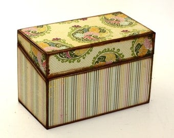 Recipe Box Stripes and Paisley Fits 4x6 Recipe Cards