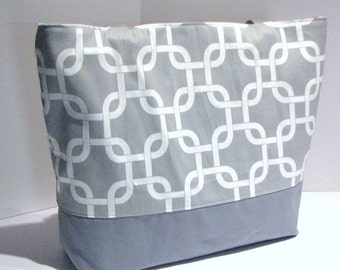 Geometric Tote Bag . Gray and White Gotcha Links Beach Bag . Standard size . teachers tote bridesmaid gifts. MONOGRAMMING Available