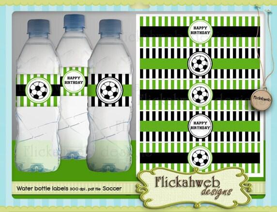 Soccer Water Bottle Labels Printable Digital Instant Download