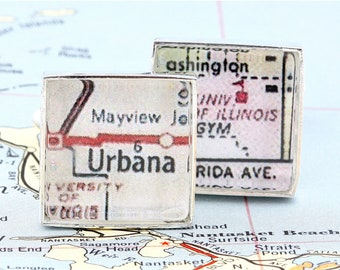 Cufflinks made from a Vintage Map of University of Illinois at Urbana - with Gift Box