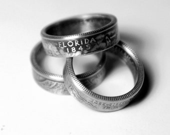 Handcrafted Ring made from a US Quarter - Florida - Pick your size