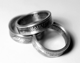 Handcrafted Ring made from a US Quarter - Maine - Pick your size