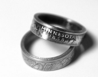 Handcrafted Ring made from a US Quarter - Minnesota - Pick your size