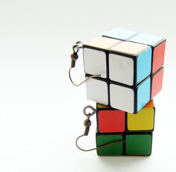 rubiks cube earings