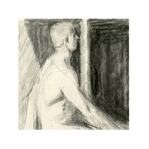 Original Male Nude Figure Life Drawing Gesture Sketch - Patrick with with Wing Hands
