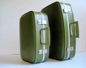 RESERVED Vintage Mod Suitcase Set Avocado Green  / 1960s Mid Century Retro Luggage