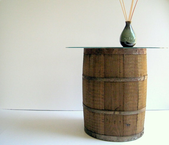 Vintage Wood Barrel / Industrial Home Table Upcycle / Distressed Decor