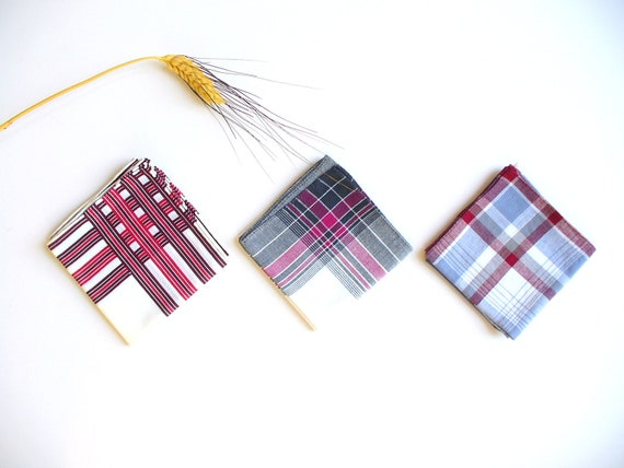 Vintage Mens Autumn Handkerchiefs Plaid