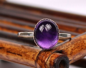 Amethyst Ring, Gemstone Ring, February Birthstone Ring, Handmade Ring, Stackable Ring