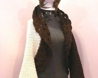 Fall Autumn - The Donnashorts1 YouTube Video - Bohemian Style Crop Sweater Shrug in Brown and Cream SM-LG