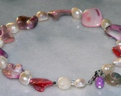 White Pink Shell Anklet Purple Pearl Ankle Bracelet  Jewelry 998