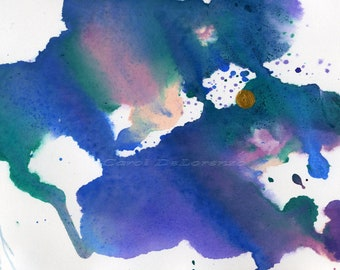 Watercolor Painting Blue Sky Art, Sky Painting, Abstract Sky, Moon Art, Moonlight Painting, Watercolor Print Titled Moonlight Sky
