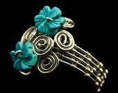 Silver Woven Ring with Turquoise Flowers-Woman's Ring-Handmade Ring