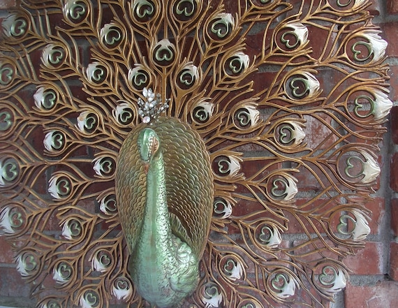 Vintage Burwood Peacock Wall Hanging - HUGE-  RESERVED for Richelle Plett