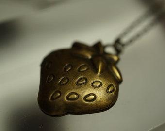 SALE - Simple Vintage Strawberry Locket Necklace - 1pc