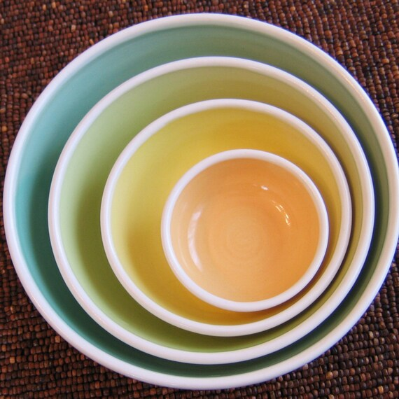 Pottery Nesting Bowls - Large Set of Stoneware Bowls in Spring Colors