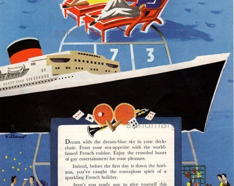 Bernard Villemot Vintage 1955 French Line Cruise Ships Ad Wrap Up in a Sea Breeze and Relax