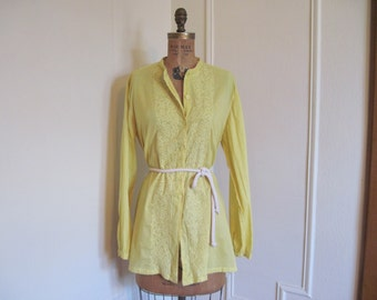 vintage 1980s Yellow Cotton Tunic, Long Blouse - Hand Embroidered - made in India - osfm