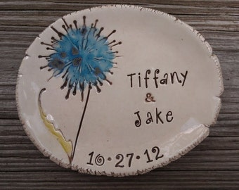 Personalized wedding ring dish, dandelion wedding ring holder, personalized Wedding gift,engagement gift, jewelry dish, ring holder,
