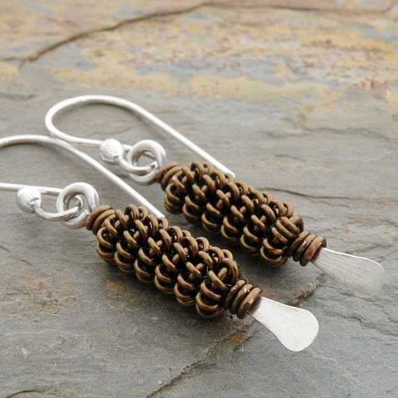 Bronze Earrings, Coiled Wire, Vintage Bronze, Wire Beads, Brown, Kuchi Coil, Non-Tarnish, Sterling Silver