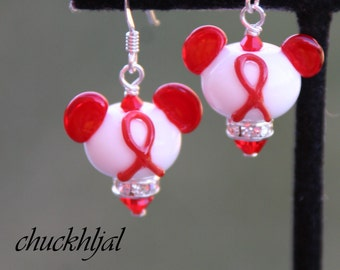 Think Red Awareness Ribbon Disney Inspired Mickey Minnie Mickey Mouse Style SRA Lampwork DeSIGNeR Earrings Heart Disease Aids Drugs DARE