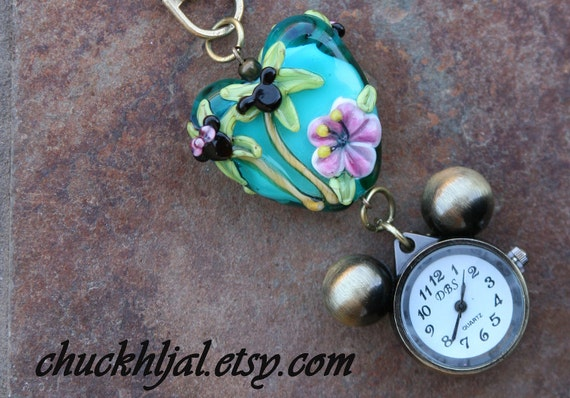 RESERVED for Magaly Tropical SRA Lampwork Disney Inspired Mickey Minnie Mouse Style DeSIGNeR Watch Charm