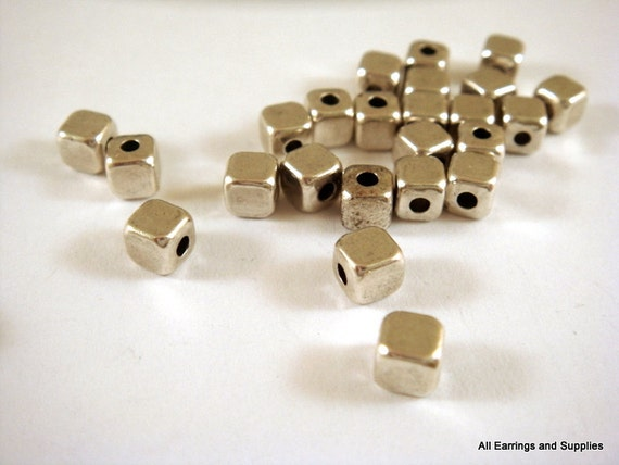 25 Silver Cube Bead 4mm Antique Plated 2mm Hole LF - 25 pc - M7021-AS25-M