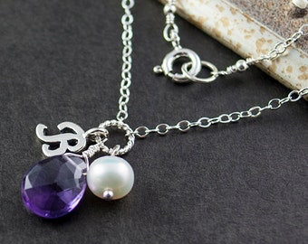 Birthstone Jewelry - February Birthstone Necklace - Amethyst Necklace with Initial - Amethyst Gemstone Necklace Sterling Silver