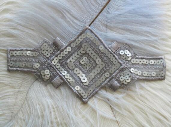 Deco 1920s Style Sequin Applique Silver
