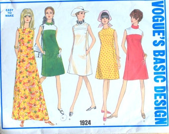 Basic 1960s Dress with Contrast Yoke and Rolled Collar Sewing Pattern Bust 32 half