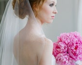 Single Layer Tulle Bridal Veil Mid Length with Plain Edge in Ivory or White by Fine & Fleurie