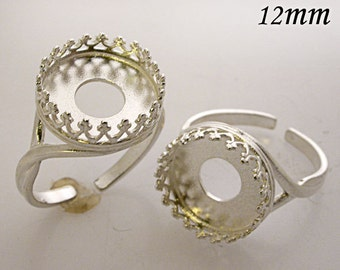 Round 12mm Heavy Shiny Sterling Silver 925 Rings Bezel Cups Setting Anti Tarnish (8480SH)