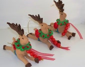 Christmas Felt Ornament, Santas Reindeer, Holiday Decoration