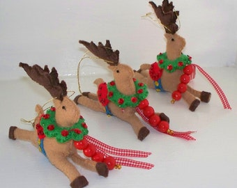 Christmas Felt Ornament, Santas Reindeer, Holiday Decoration
