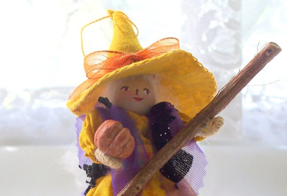 Halloween Felt Art Doll - Diva witch in the mustard hat - Halloween hanging ornament