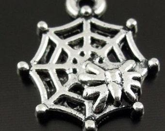 Black Widow Spider Web Charm lot of 10