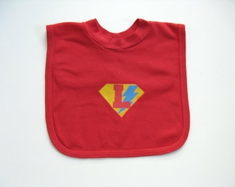Infant Hero Bib, Hand Painted For Baby or Toddler, Hand Dyed Red, Lightning bolt