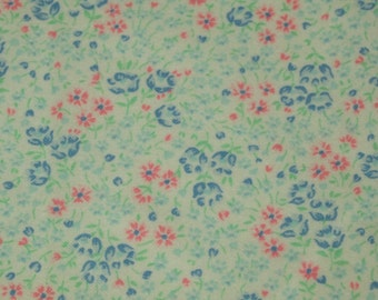 vintage 80s flannelette fabric, featuring pretty floral design 1 yard, 2 available priced PER YARD